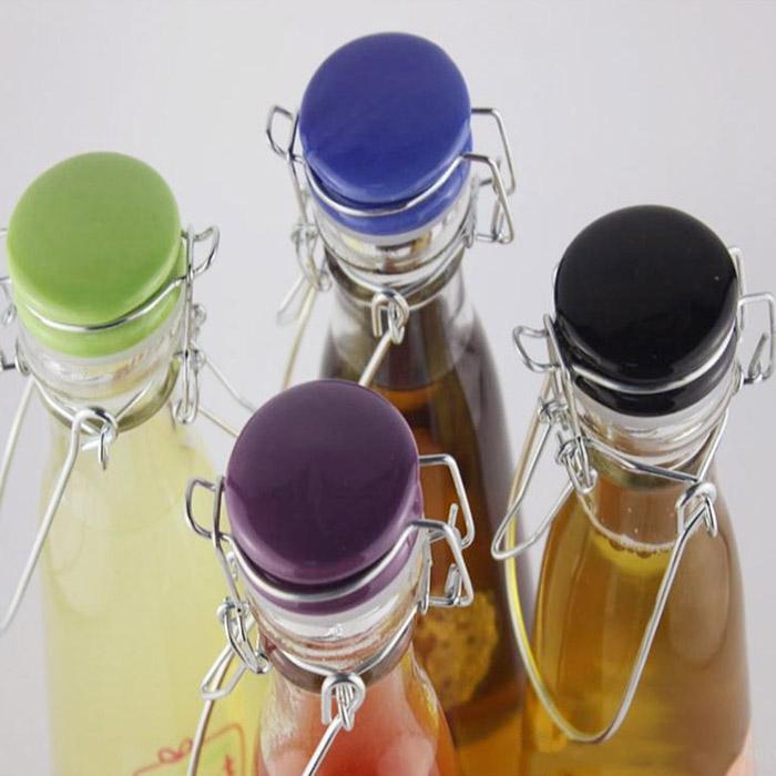 Swing Top Clear Milk Glass Bottle
