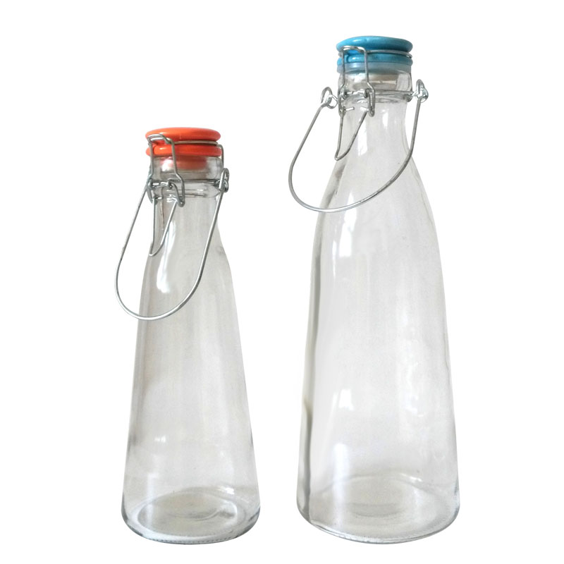 Swing Top Clear Milk Glass Bottle