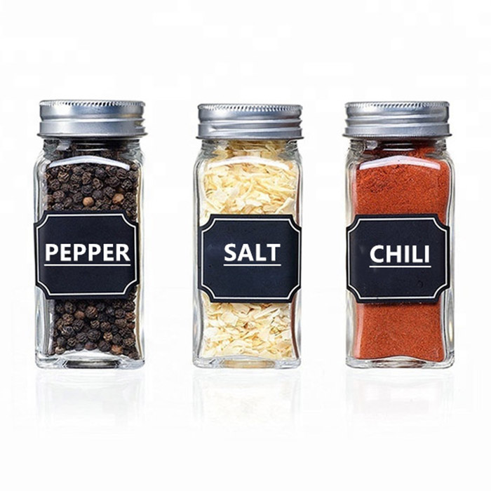 4oz Glass Square Spice Jar