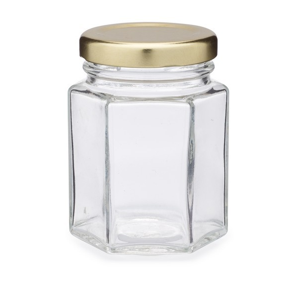 Hexagon Glass Jar with Lid
