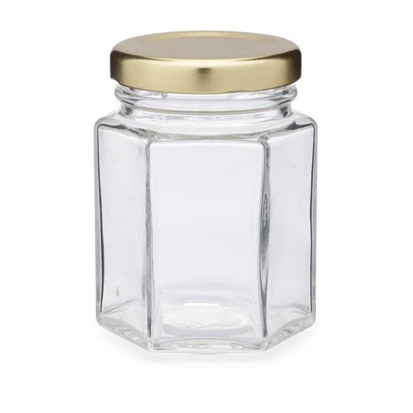 Hexagon Glass Jar with Lid