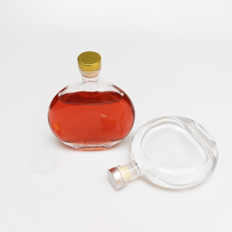Round Glass Oil Bottle with Cork