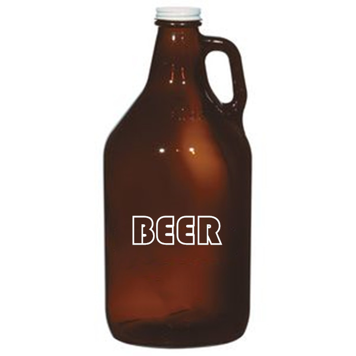 64oz Glass Amber Growler