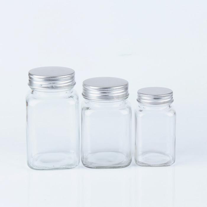 Clear Square Glass Jar