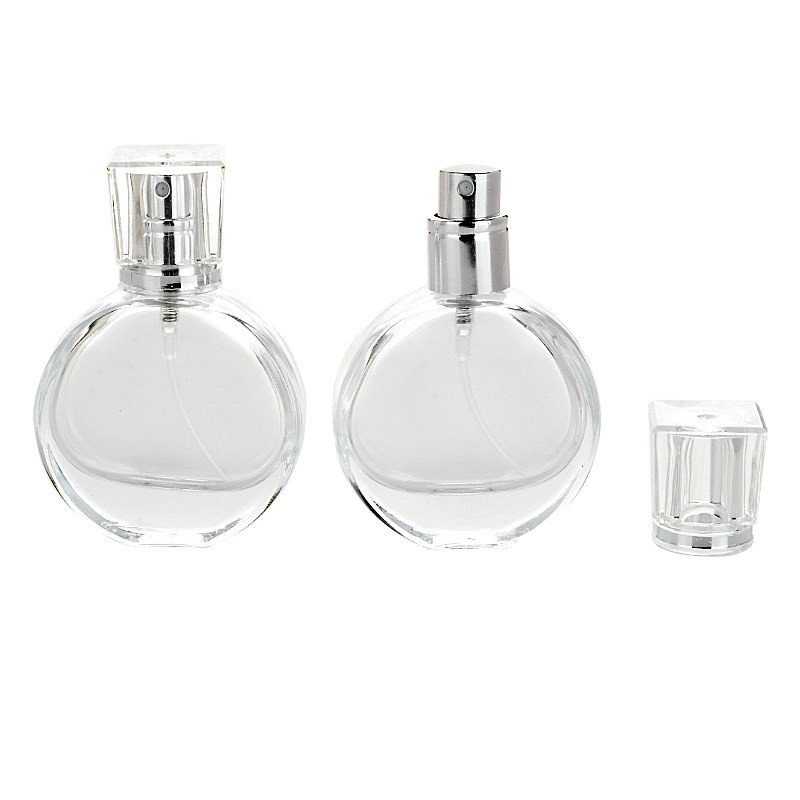 Round glass perfume bottle