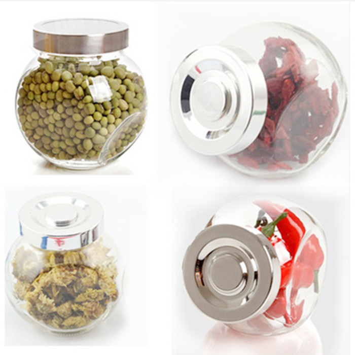Flat glass jar with screw lid