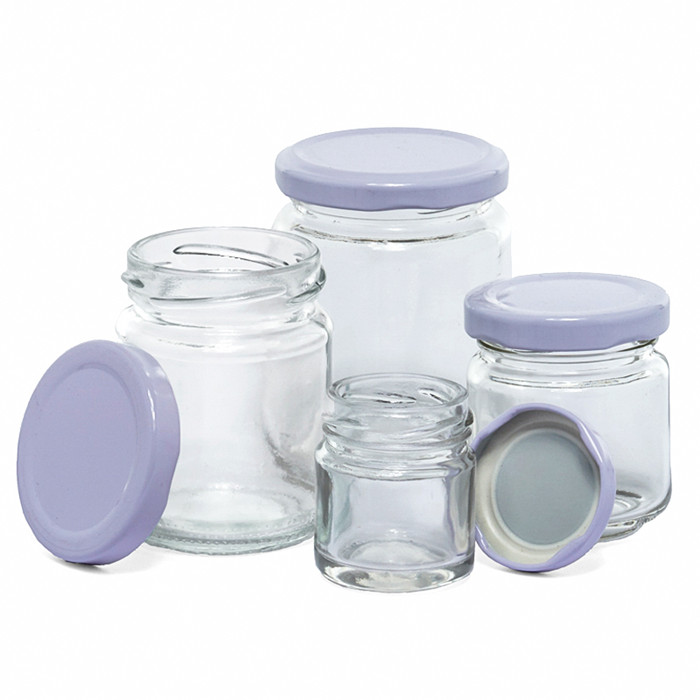 empty clear round glass jar