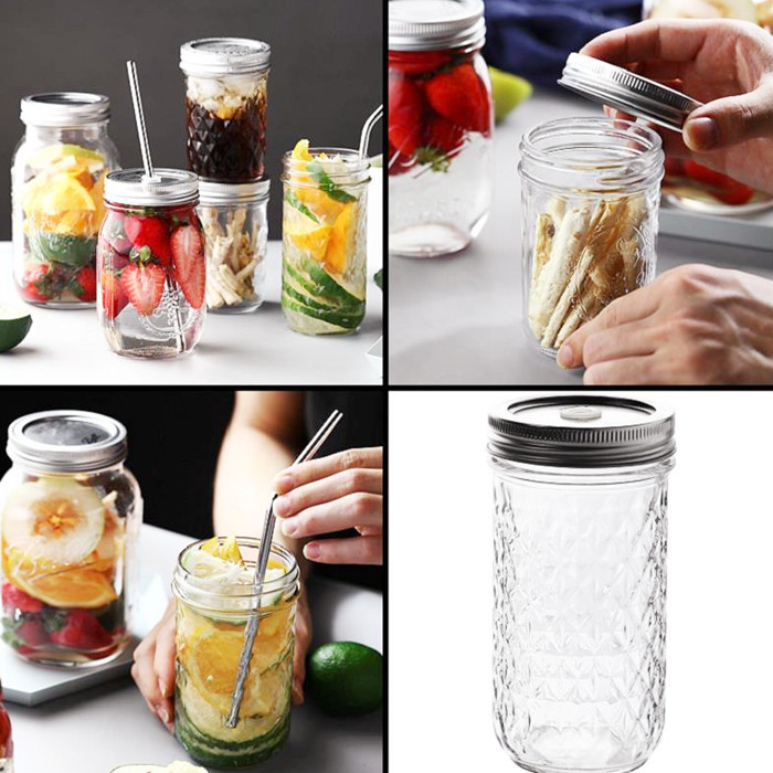 Embossed Glass Mason Jar