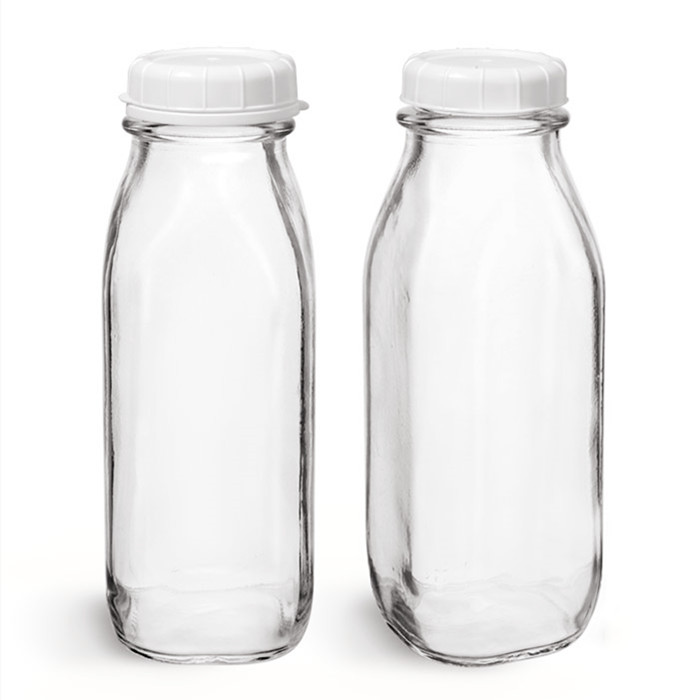 Clear Glass Square Bottle