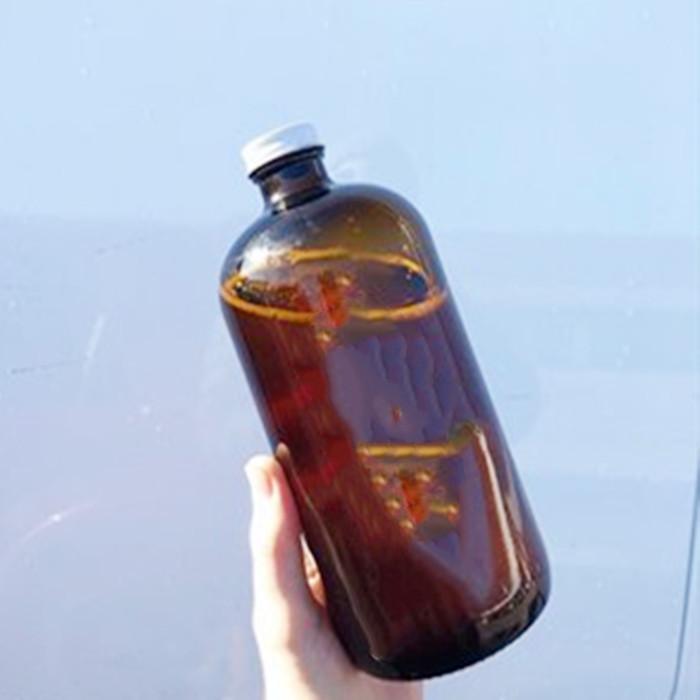 16oz Amber Boston Round Bottle