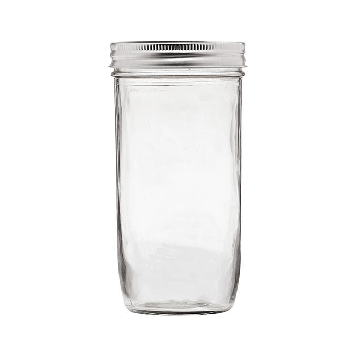 Wide Mouth Glass Jar with Straw