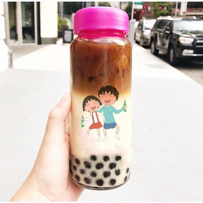 Printing Bubble Boba Tea Glass Bottle