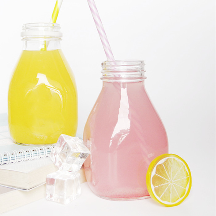 16oz Round Square Juice Glass Bottle