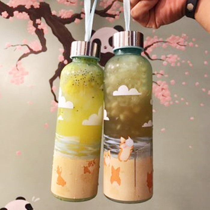 16oz glass bottle boba tea bottles with printing