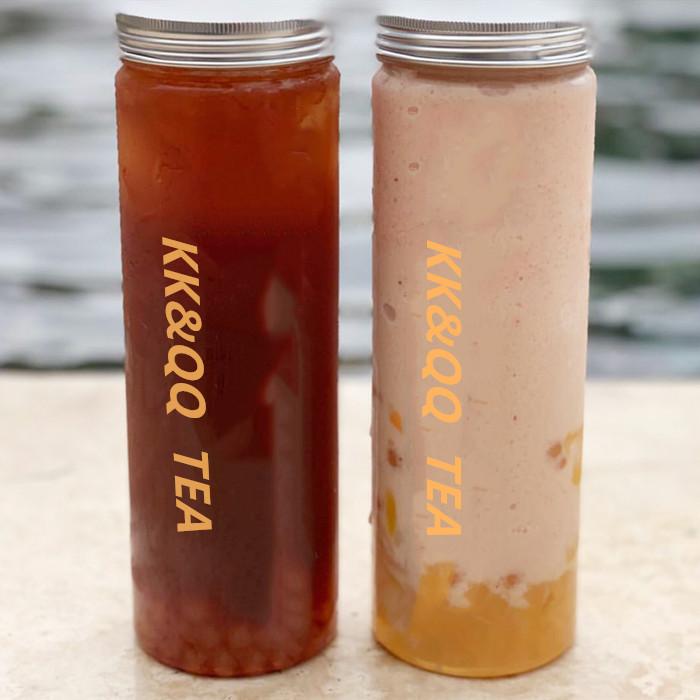 Wide mouth glass bottle for boba tea shops