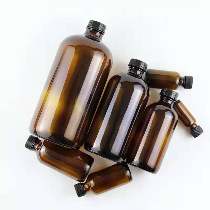 16oz Glass amber boston round bottle