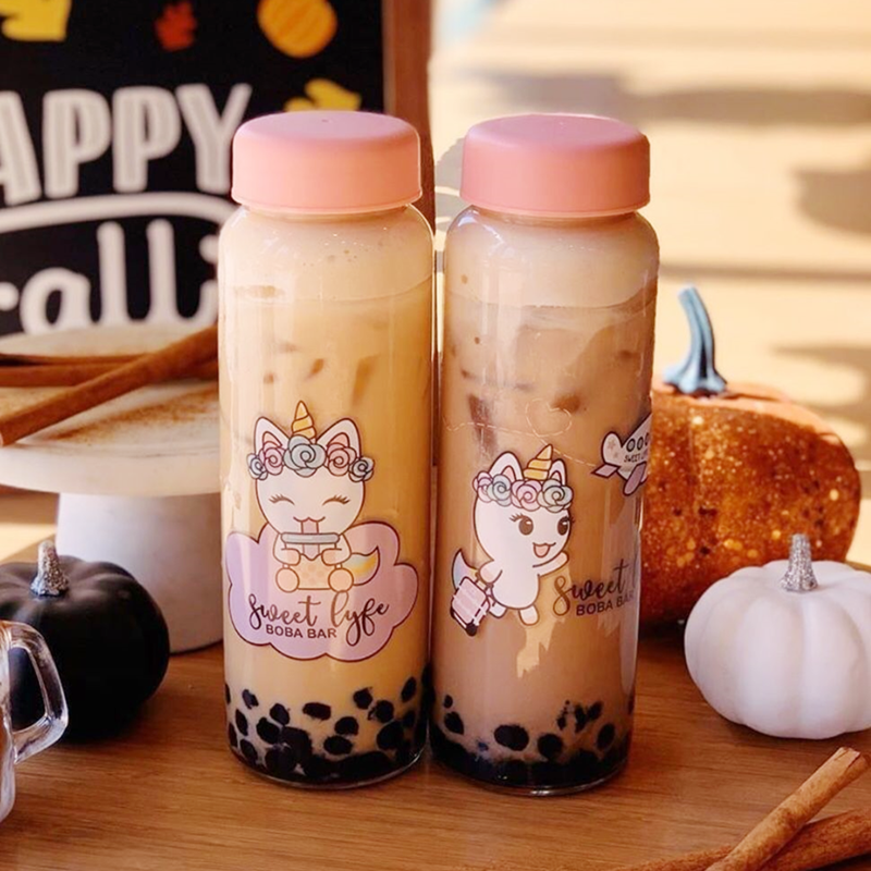 Bubble Tea Smoothie Glass Jar with Printing