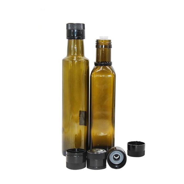 Green olive oil glass bottle tamper evident lid