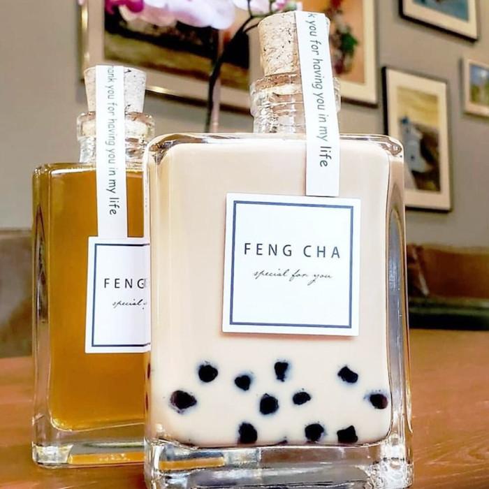 OEM logo printing Boba Milk Tea Glass Bottle