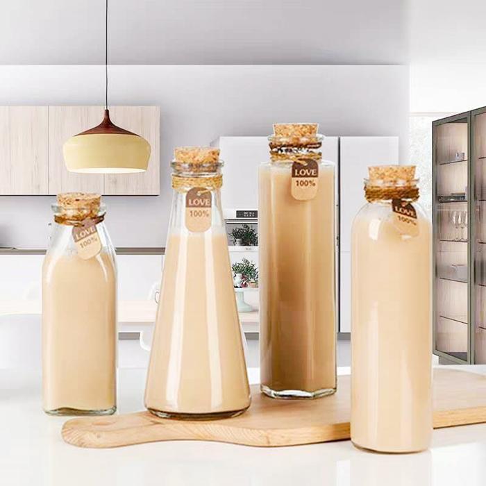 Milk bottle glass bottle with cork 500ml bottles