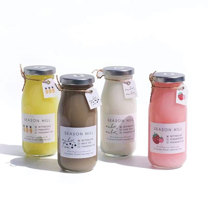 200ml 250ml Milk Juice Glass Bottle with Metal Lid