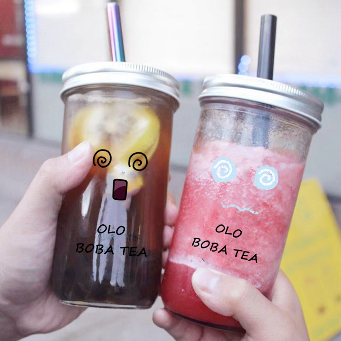 Customized 700ml Boba Glass Jar Bubble Bar Bottles with Straw