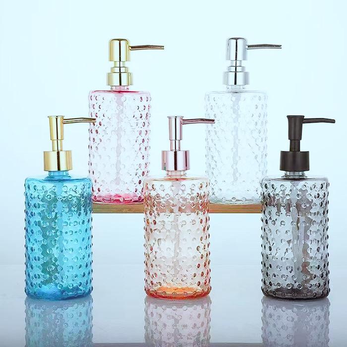 Pump Glass Lotion Bottles 16oz with Color